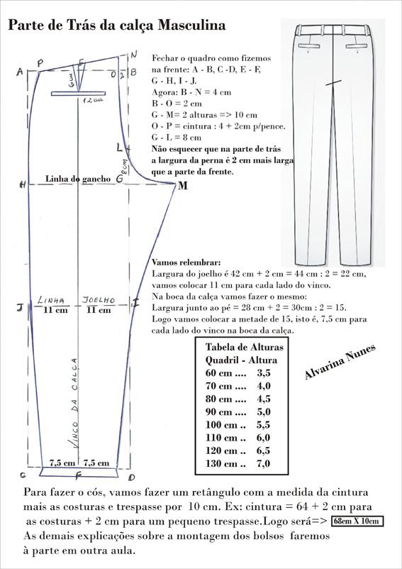 85bd0aeecf8bc Parte de Trás da Calça Masculina                                                    Modelagem da Calça Social  Masculina